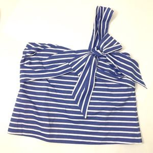 Blue White One Shoulder Bow Striped Top NWT